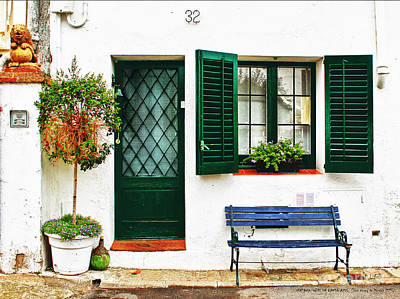 Photograph - Window Over A Blue Bench by Pedro L Gili