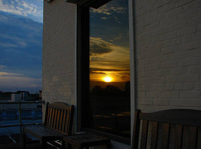Photograph - Awesome Sunset Window Reflections Downtown Charleson Sc by Ella Char