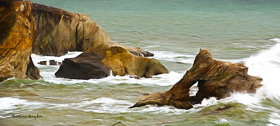 Pismo Beach Painting - Window Rock In The Fog Detail by Barbara Snyder