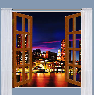 Boston Light Painting - Window View Of Boston Harbor Night Skyline by Elaine Plesser