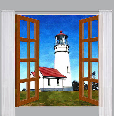Oregon Lighthouse Painting - Window View Of Cape Blanco Lighthouse Oregon by Elaine Plesser