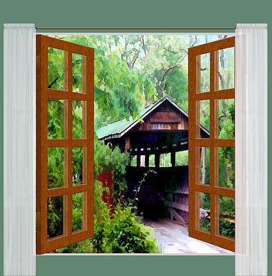 Covered Bridge Painting - Window View Of Covered Bridge by Elaine Plesser