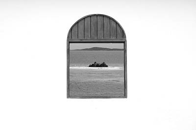 Photograph - Window View Of Desert Island Puerto Rico Prints Black And White by Shawn O'Brien