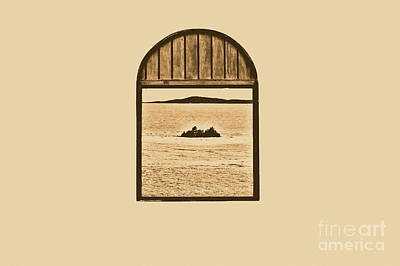 Window View Of Desert Island Puerto Rico Prints Rustic Art Print by Shawn O'Brien