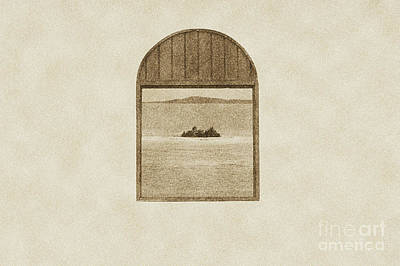 Digital Art - Window View Of Desert Island Puerto Rico Prints Vintage by Shawn O'Brien