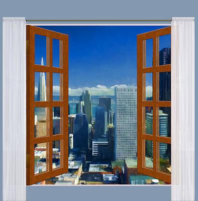 Urban Scenery Painting - Window View Of Sanfrancisco Skyline by Elaine Plesser