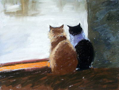 Pastel - Window Watching by Lenore Gaudet