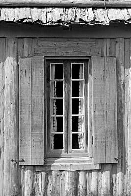 Photograph - Window With Curtains Black And White by Mary Bedy