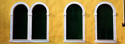 Windows In Yellow Wall Venice Italy Art Print