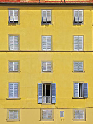 Windows Of Florence Against A Faded Yellow Plaster Wall Art Print by David Letts