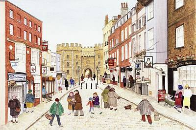 Windsor Castle, 1989 Watercolour On Paper Print by Gillian Lawson