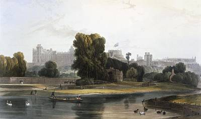 Berkshires Painting - Windsor Castle From The River Thames by William Daniell