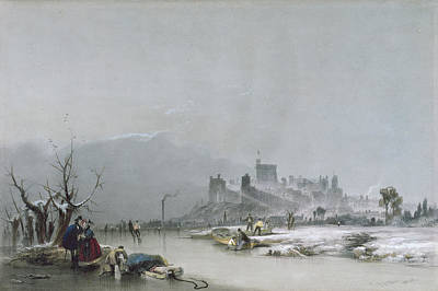 Figure Skater Painting - Windsor Castle From The Thames, 19th Century by James Baker Pyne