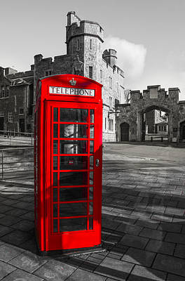 Old Phone Booth Photograph - Windsor Castle Red Telephone Box by Chris Thaxter