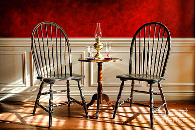 Oil Lamp Photograph - Windsor Chairs by Olivier Le Queinec