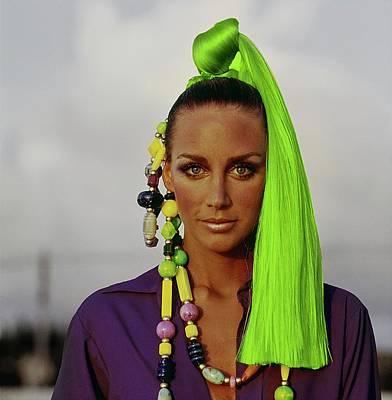 Photograph - Windsor Elliott Wearing A Green Hairpiece by Arnaud de Rosnay