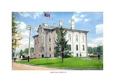 City Hall Digital Art - Windsor Ontario Canada - City Hall - 1911 by John Madison
