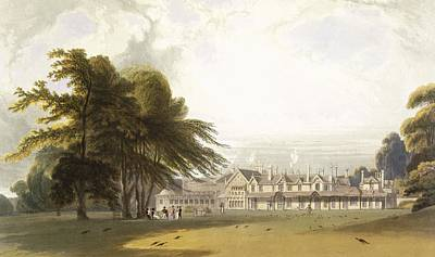 Peacock Drawing - Windsor Park The Royal Lodge by William Daniell