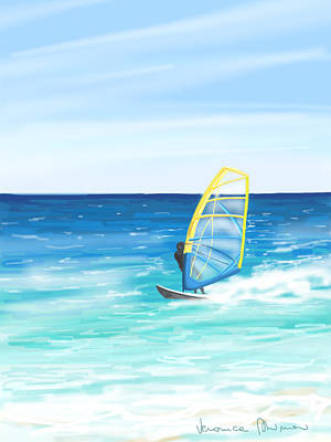 Waves Painting - Windsurf by Veronica Minozzi