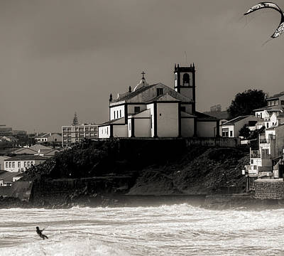 Photograph - Windsurfer On Ocean In Back Of Church by Joseph Amaral