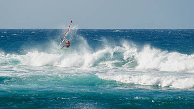 Photograph - Windsurfer Skipping Along Wave by Trever Miller
