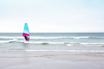 Photograph - Windsurfer With Pink And Aqua by Brooke T Ryan