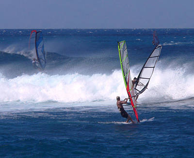 Photograph - Windsurfers Heading Out by John Orsbun