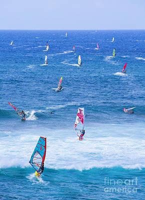 Windsurfing Photograph - Windsurfers On Maui by Diane Diederich