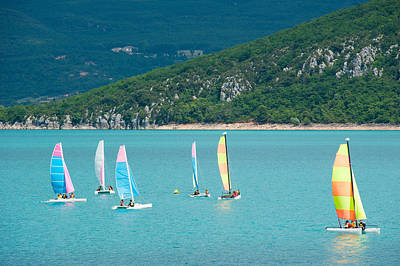 Windsurfing Photograph - Windsurfers On The Lake, Lac De Sainte by Panoramic Images