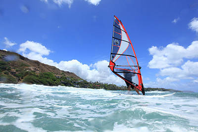 Diamond Head Photograph - Windsurfing, Diamond Head, Waikiki by Douglas Peebles