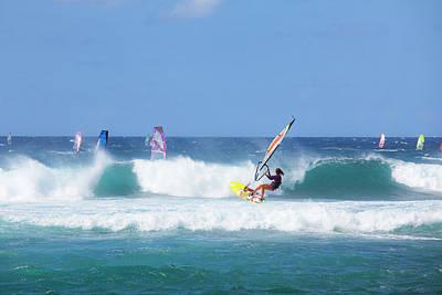 Windsurfing Photograph - Windsurfing, Hookipa Beach Park, Maui by Douglas Peebles