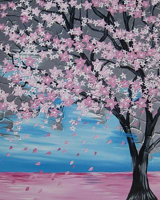 Cherry Blossoms Painting - Windswept Blossoms by Cathy Jacobs