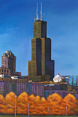Chicago Skyline Painting - Windy City Autumn by Johnathan Harris