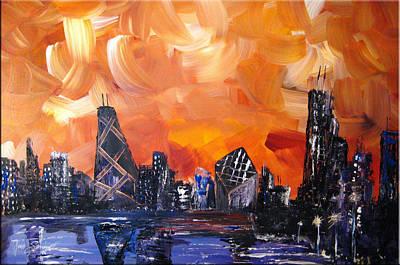 Hancock Building Painting - Windy City by Gino Savarino
