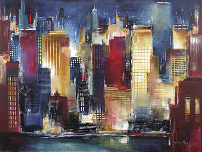 Abstract Skyline Painting - Windy City Nights by Kathleen Patrick