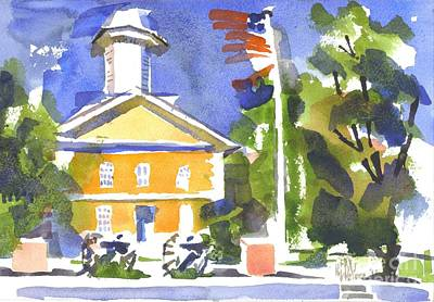 Cheerful Day At The Courthouse Painting - Windy Day At The Courthouse by Kip DeVore
