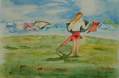 Painting - Windy Day Funny Watercolor by Geeta Biswas
