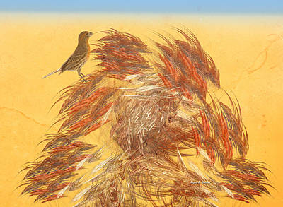 Finch Mixed Media - Windy Day On Wheatland by Angela A Stanton