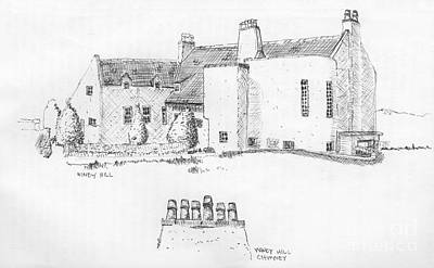 Drawing - Windy Hill House by Ron Bissett