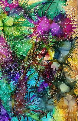 Wall Art - Painting - Windy Zinnias by Alene Sirott-Cope