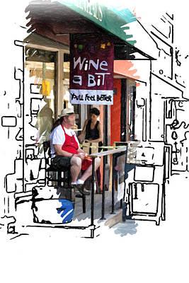 Asheville Drawing - Wine A Bit by John Haldane