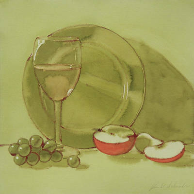 Painting - Wine And Apple by Joe Schneider