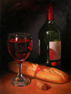 Wine-bottle Painting - Wine And Baguette by Timothy Jones