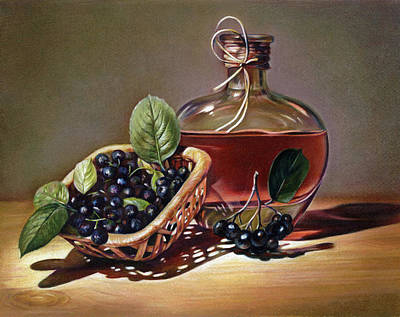 Still Life With Bottle Drawing - Wine And Berries by Natasha Denger