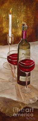 Painting - Wine And Candle By Vic Mastis With Oil And Gold Leaf by Vic  Mastis