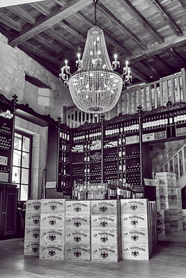 Wine And Chandeliers Black And White Art Print by Georgia Fowler