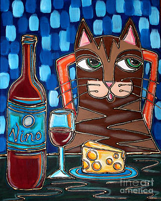 Painting - Wine And Cheese Cat by Cynthia Snyder