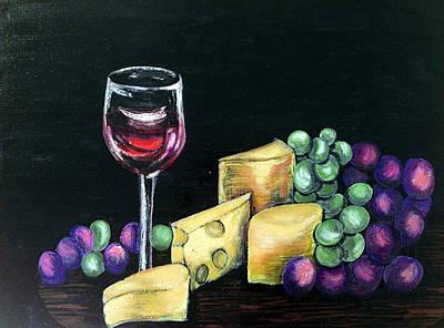 Wine Painting - Wine And Cheese by Deb Wolf