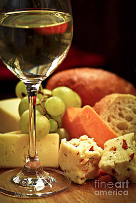 Food And Beverage Photos - Wine and cheese by Elena Elisseeva