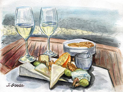 Snack Time Painting - Wine And Cheese by Jana Goode
